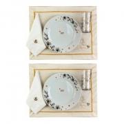 Box p/jantar ou almoço Off white c/ 8 peças, louças em porcelana, coleção exclusiva Garden Bee