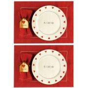 Box p/jantar ou almoço Home PS I love you c/ 8 peças, dupla face, louças em porcelana, coleção exclusiva PS I Love you