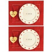 Box p/jantar ou almoço PS I love you c/ 8 peças, dupla face, louças em porcelana, coleção exclusiva PS I Love you