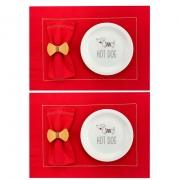 Box p/Lanche Hot Dog c/8 peças, pratos em porcelana + roupa de mesa, coleção exclusiva Hot Dog
