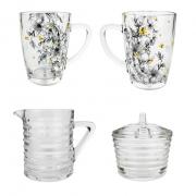 Box p/Mesa Café da Manhã c/ 4 peças, leiteira, açucareiro e canecas em vidro, 300 ml da coleção exclusiva Garden Bee