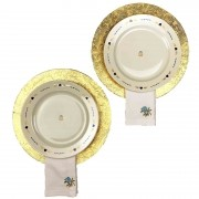Box p/jantar ou almoço Golden c/ 8 peças, louças em porcelana, coleção exclusiva Poções de Amor