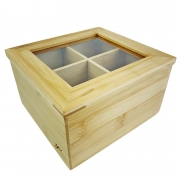 Caixa para Chá ou Especiarias c/Visor em Bambu Natural, 16 cm