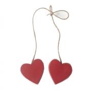 Corações em Madeira Vermelha no Cordão 4,5cm