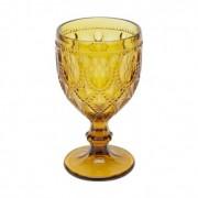 Taça em vidro, alto relevo, 290ml, cor âmbar Diamond
