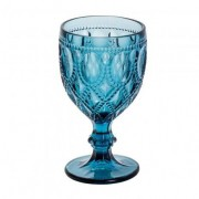 Taça em vidro, alto relevo, 290ml, cor azul Diamond