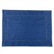 Jogo Americano p/2 Lugares em algodão, 44 cm, Azul Arabescos c/acabamento bordado