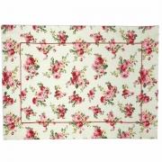 Jogo Americano p/2 Lugares em algodão, 44 cm, dupla face Floral Bege c/acabamento bordado linha vermelha