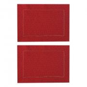 Jogo Americano p/2 Lugares em algodão, 44 cm, dupla face Vermelho e Poá c/acabamento bordado linha dourada