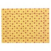 Jogo Americano p/ 2 Lugares em Algodão Floral Amarelo c/ Acabamento Bordado 44cm