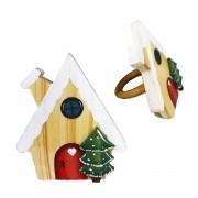 Jogo c/2 Argolas Christmas Home madeira