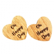 Jogo c/2 Argolas p/Guardanapo Madeira nobre escrita Oh Happy Day, 7 cm