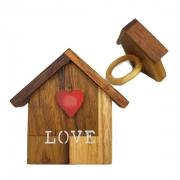Jogo c/2 Argolas p/Guardanapo em Madeira Teca Love Home lettering branco, 7cm