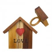 Jogo c/2 Argolas p/Guardanapo em Madeira Teca Love Home,  lettering preto, 7cm