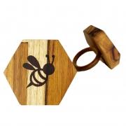 Jogo c/2 Argolas p/Guardanapo Garden Bee em madeira teca, 7cm