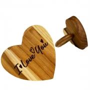 Jogo c/2 Argolas p/ Guardanapo Hearts em Madeira Teca escrita I love you