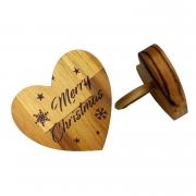 Jogo c/ 2 Argolas p/ Guardanapo Hearts Madeira Teca Escrita Merry Christmas