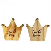 Jogo c/2 Argolas p/Guardanapos coroa c/ponta dourada, I'm the Queen & I'm the King, em madeira de reflorestamento