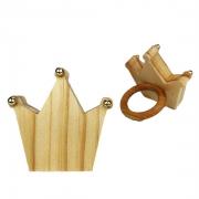 Jogo c/2 Argolas p/Guardanapos, formato coroa c/ponta dourada,  em madeira de reflorestamento