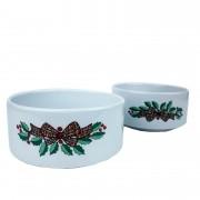 Jogo c/ 2 Bowls 200ml, em porcelana Flor de Natal