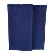 Jogo c/ 2 Guardanapos Azul Marinho c/ Acabamento Guipir 42cm