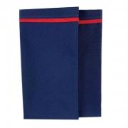 Jogo c/ 2 Guardanapos, 42cm, azul marinho com debrum vermelho
