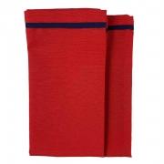 Jogo c/ 2 Guardanapos Vermelho c/ Debrum Azul Marinho 42cm