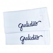 Jogo c/2 Guardanapos em algodão Branco, 42 cm c/ Bordado Gratidão