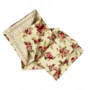 Jogo c/ 2 Guardanapos 100% algodão, 43 cm, Dupla Face Floral, com acabamento bordado