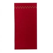 Jogo c/ 2 Guardanapos Duplos 100% Algodão Acabamento Bordado Vermelho 43cm