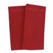 Jogo c/2 Guardanapos duplos, 100% algodão, 43 cm com acabamento bordado, vermelho c/poá branco