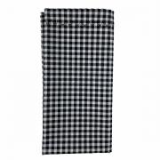 Jogo c/2 Guardanapos duplos, 100% algodão, 43 cm com acabamento bordado, Xadrez preto e branco
