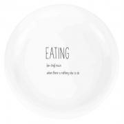 Prato p/ Sobremesa Eating em Porcelana, 19 cm de Diâmetro, Coleção Exclusiva Lettering