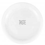 Prato para Sobremesa Taste, em porcelana, 18,7cm de diâmetro, coleção exclusiva Lettering
