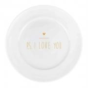 Jogo c/2 Pratos p/Sobremesa, 21 cm em porcelana, edição especial PS I love you Gold