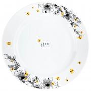 Jogo c/2 Pratos Rasos em porcelana 25,5 cm diâmetro, coleção exclusiva Garden Bee
