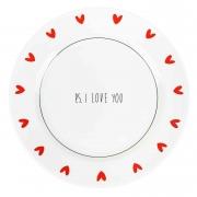 Jogo c/2 Pratos Rasos, em porcelana 25,5 cm diâmetro, coleção exclusiva PS I love you