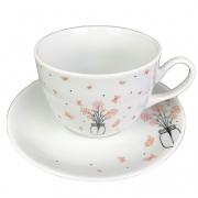 Jogo c/ 2 Xícaras de Chá 240ml c/ Pires em Porcelana Coleção Exclusiva Garden