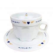 Jogo c/ 2 Xícaras de Chá 250ml c/pires em porcelana, coleção exclusiva Poções de Amor