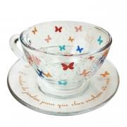 Jogo c/2 Xícaras de Chá, 240 ml em vidro, coleção Butterfly Colors
