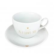 Jogo c/2 Xícaras de Chá com pires, em porcelana, 240ml, edição especial PS I love you Gold