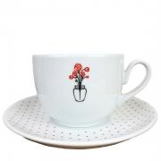 Xícara de Chá com pires, em porcelana, coleção exclusiva Garden Roses, 240ml