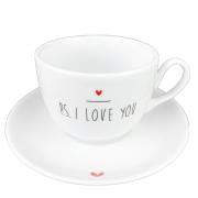 Jogo c/2 Xícaras de Chá com pires, em porcelana, coleção exclusiva PS I love you, 240ml