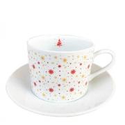 Jogo c/ 2 Xícaras de Chá c/ Pires em Porcelana, 200 ml, Coleção Exclusiva Christmas Snow Flakes