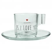 Jogo c/2 Xícaras p/ Café c/pires, em vidro, 90 ml, coleção exclusiva PS I love you