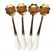 Jogo c/4 Colheres para Chá Flor Dourada c/cabo de porcelana branco