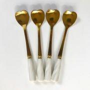 Jogo c/4 Colheres para Chá Hearts Dourada c/cabo de porcelana branco