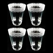 Jogo c/ 4 Copos Americanos em vidro, 190 ml, Coleção Rendas