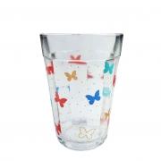 Jogo c/4 Copos americanos em vidro, 190ml, Butterfly Colors