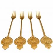 Jogo c/4 Garfinhos Dourados p/Petiscos em aço inox,  cabo Hearts e Coroa, dourado 12 cm